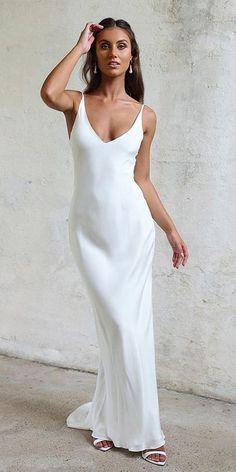 55ebe9361af5 21 Excellent And Elegant Silk Wedding Dresses ❤ silk wedding dresses sheath  spaghetti straps simple