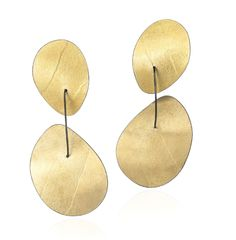 Reiko Ishiyama Gold Oxidized Silver Embossed Double Disc Drop Earrings