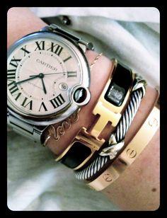catier ballon bleu, hermes click clack, david yurman, cartier love bracelet