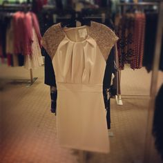 New Arrivals! Line & Dot dress with sequin detail. Perfect for a Rehearsal Dinner! Halls Plaza.