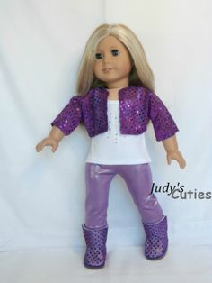 Purple Sequin Jacket-Top-Leggings-Boots Doll Clothes fit American Girl Doll Only