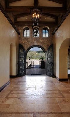 Travertine tile hallway