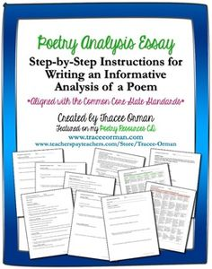 Common Core Writing: Poem Analysis Critique Essay - Step-by-step analysis for students, which results in authentic information for their essay. (Common Core writing rubrics for grades included, priced) Teaching Poetry, Writing Poetry, Teaching Writing, Teaching Resources, Poetry Poem, Teaching Ideas, Teaching Activities, Common Core Writing, Academic Writing