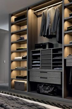 meuble dressing, mobilier contemporain, tiroirs, étagères et penderie style minimaliste Wardrobe Design Bedroom, Master Bedroom Closet, Bedroom Wardrobe, Wardrobe Closet, Black Wardrobe, Master Bathroom, Walking Closet, Bedroom Cupboard Designs, Bedroom Cupboards