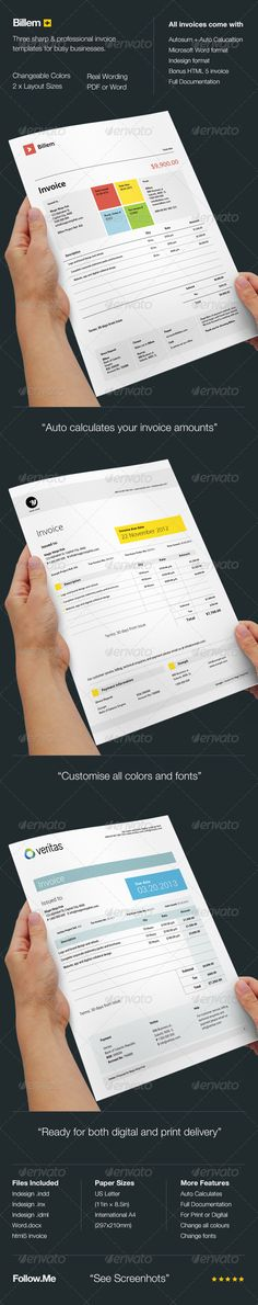 Buy Billem - Invoice Template Set by KennyWilliams on GraphicRiver. Four sharp and professional invoice templates for busy businesses, created in Adobe InDesign and MS Word, it comes in. Form Design, Web Design, Graphic Design, Invoice Design Template, Corporate Fonts, Personal Identity, Proposal Templates, Drupal, Editorial Layout