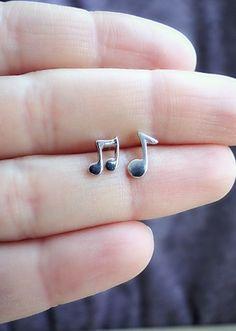 Delicate Silver Music Note Earrings Stud Small Key Earring Cute 925 Studs Simple