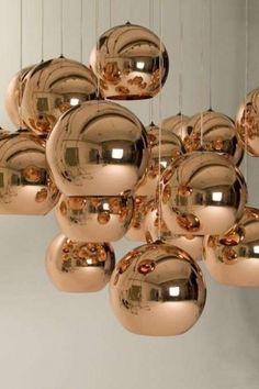 Prachtige koperen lamp van Tom Dixon