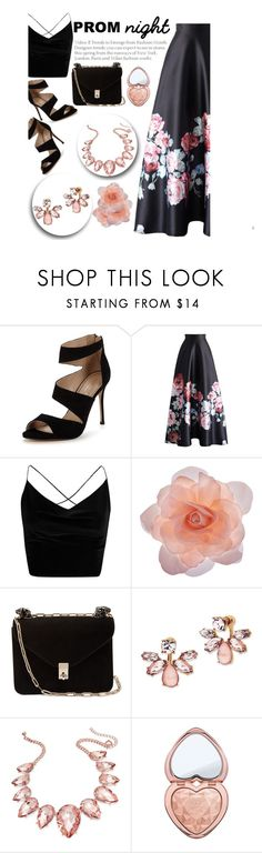 """elegant black"" by smillafrilla ❤ liked on Polyvore featuring Carvela, Chicwish, Boohoo, Accessorize, Valentino, Marchesa, Thalia Sodi and Too Faced Cosmetics"
