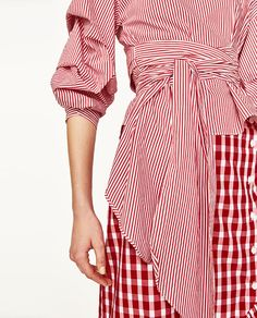 Image 5 of STRIPED BLOUSE WITH PLEATED SLEEVES AND BOW BELT from Zara