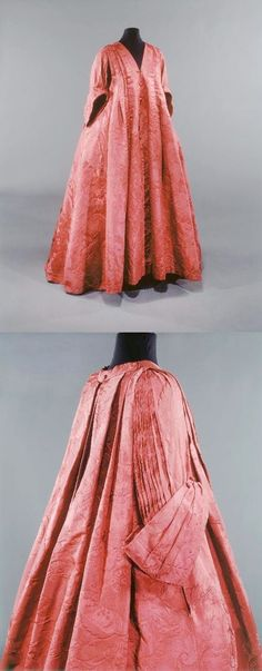 This robe volante is a very rare example of a well-documented form of dress that marked the transition from the mantua of the late seventeenth and early eighteenth centuries to the robe à la française. 18th Century Dress, 18th Century Costume, 18th Century Clothing, 18th Century Fashion, Vintage Gowns, Vintage Outfits, Vintage Fashion, Historical Costume, Historical Clothing