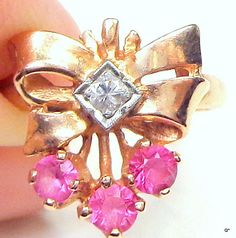 PS 14kt Rose GoldVintage Diamond Rugy Ring by JanesGemCreations