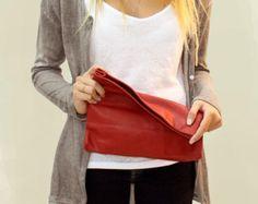 Monedero rojo embrague bolso de embrague por LeahLerner en Etsy