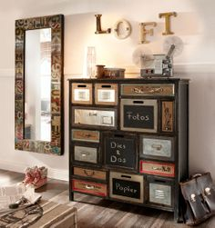 nachttisch atelier loft kommode metall optik industriedesign rot used look neu zimmer. Black Bedroom Furniture Sets. Home Design Ideas