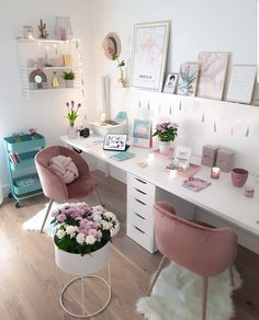 office design Home Office Ideas For Two ; Home Office Ideas Home Office Space, Home Office Design, Home Office Decor, Diy Home Decor, Office Ideas, Office Designs, Girl Bedroom Designs, Room Ideas Bedroom, Bedroom Decor