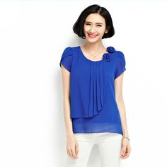 Blusa de chiffon 2016 verão tops mulheres camisas Blusas soltas Casual O-Neck manga Curta camisa blusas plus size blusas feminina 4XL