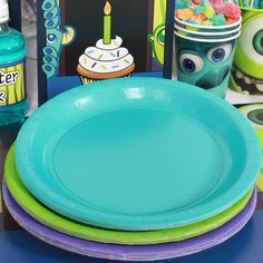 monsters inc party supplies baby shower   Monsters Inc Coordinating Lunch Plate Set (24)