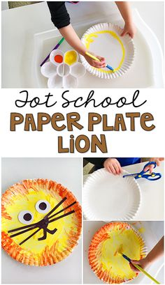 Adorable lion paper plate art activity perfect for building fine motor skills during a zoo theme in tot school, preschool, or the kindergarten classroom.