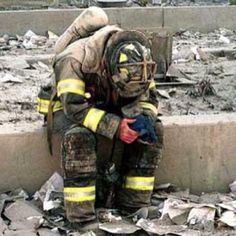 A United States Firefighter on September 11, 2001 in New York City.