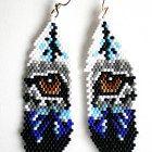 Wolf Eyes Feather Style Peyote Earrings, Native American Inspired