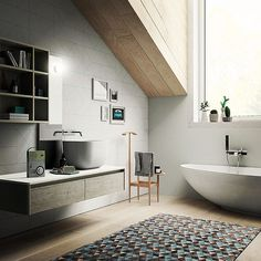 Comfortable and refined: that's Dress Bathroom Trends 2017, Black Taps, Complete Bathrooms, Geometric Tiles, Bathroom Images, Stain Colors, Colours, Bath Design, Beautiful Bathrooms