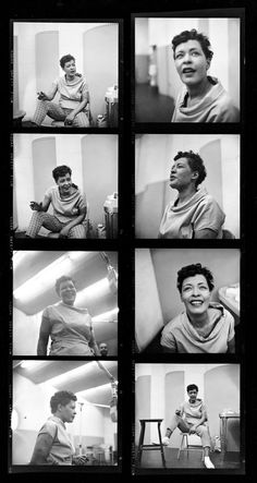 Phil Stern, Contact sheet of Billie Holiday recording the album Music for Touching, August 25, 1955 © Phil Stern