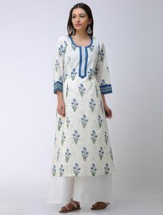 Buy Ivory Blue Block printed Pleated Mulmul Kurta Cotton Online at Jaypore.com Indian Long Dress, Indian Gowns Dresses, Baby Dresses, Simple Kurti Designs, Kurta Designs Women, Kurta Patterns, Dress Patterns, Dress Neck Designs, Blouse Designs
