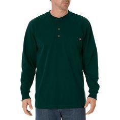 Dickies Men's Cotton Heavyweight Long Sleeve Pocket Henley Shirt