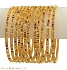 Indian Gold Bangles Set (12 Pcs) ( Set of Bangles )