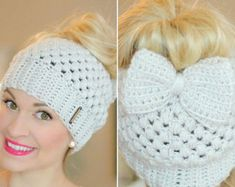 crochet bow pattern This crochet messy bun beanie has been my best selling design since 2016 and I am providing it to you guys here for free! Bandeau Crochet, Crochet Bows, Hand Crochet, Knit Crochet, Free Crochet, Crochet Headbands, Bonnet Crochet, Crochet Beanie Hat, Ponytail Beanie