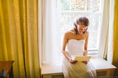Bride Reading Card from Groom on Wedding Day - NC Wedding Planner - Carolyn Scott Photography ©