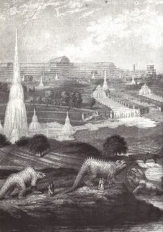 The great fountains Crystal Palace, with Statues of prehistoric animals. Exhibition Building, Exhibition Space, Crystal Palace, Hyde Park, Glass Structure, Victorian Life, Retro Football, Le Palais, History Class