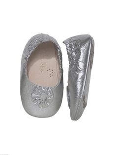 Silver Geometric Flower Flats from Perfect Baptism Outfits & Gifts on Gilt