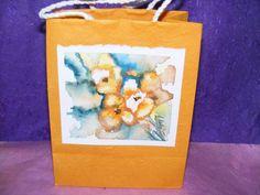 Paper Gift Bag   Watercolor  Orange Pansies by TheGiftoftheGAB, $5.00
