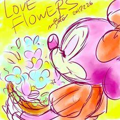 Love flowers....  Minnie and I waiting SPRING.    #minnie #minniemouse #disney #disneyart #illustration #illust #drawing #flowers #spring #ミニーマウス #ディズニー #イラストレーション #イラスト #キャラクター #花 #春