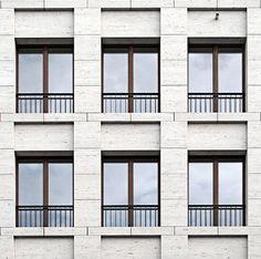 Facade of the Haus am Max Reinhardtplatz in Berlin by KLeihues + Kleihues Architekten. Photo taken from the Deutsches Architektur Forum, edited by NOMAA|marco jongmans.