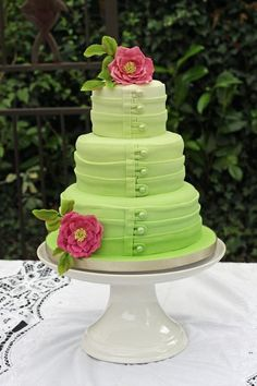 Beautiful cake, sea foam green with rose flower.