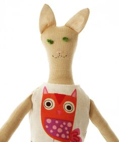 Handmade Upcycled Cloth Cat Doll With 2 Outfits by PatchyPals, $80.00