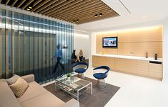 Impressive glass screening. Reception area at the office of law firm Boyes Turner.