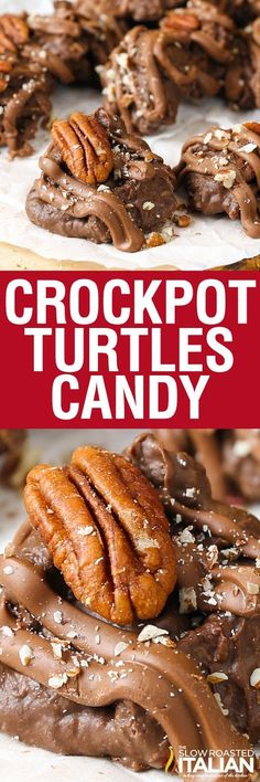 Crockpot Turtles Candy is an incredibly simple and impressive candy. A rich chocolaty recipe that you simply dump ingredients into your slow cooker, stir and scoop. Then garnish and gift (or serve).  It doesn't get much easier than that!