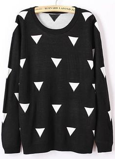 Black Long Sleeve Triangle Print Knit Sweater