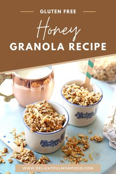 A sweet and toasted honey granola recipe that's gluten free, easy to make, and can also be made into no bake granola bars. Whip up the homemade granola recipe for an irresistible healthy snack, breakfast, or topping for your favorite yogurt. #healthybreakfast #homemadegranola #granolarecipe #glutenfreebreakfast Gluten Free Recipes For Kids, Gluten Free Recipes For Breakfast, Brunch Recipes, Bar Recipes, Free Breakfast, Breakfast Ideas, Snack Recipes, Healthy Recipes, No Bake Granola Bars
