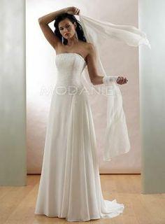 Robe fourreau broderie perles traine chapelle robe de mariée chiffon  http://www.modanie.fr/robe-fourreau-broderie-perles-traine-chapelle-robe-de-mariee-chiffon-produit-5535.html