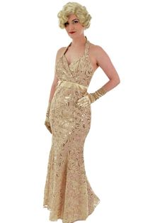 "Champagne gold embroidered halter style mermaid gown for a stunning ""old hollywood"" look. Glamour Ladies, Old Hollywood Glamour, Blue Dresses, Prom Dresses, Dress Prom, Second Wedding Dresses, Dress Wedding, Vintage Inspired Outfits, Paisley Dress"
