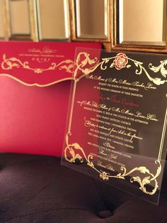 Disney's Beauty and the Beast Wedding in December acrylic invitation share Disney's Beauty and the Beast Wedding in December Acrylic Invitation Share History Invitations Beauty And The Beast Wedding Invitations, Beauty And The Beast Wedding Theme, Disney Beauty And The Beast, Wedding Beauty, Beauty And The Beast Nails, Acrylic Wedding Invitations, Wedding Invitation Kits, The Invitation, Invites