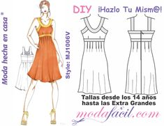 Patrones gratis - Modafacil Doll Clothes Patterns, Clothing Patterns, Dress Patterns, Diy Bow, Diy Sewing Projects, Couture, Summer Dresses, Womens Fashion, Crafts