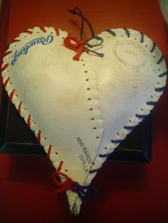 Hanging HEART Made with upcycled  softball by EcoChicFURNITURE, $12.00