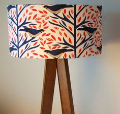 Designer Lampshade by Nadia Taylor, featuring an original bird print.