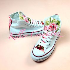 Custom+Floral+High+Top+Converse+made+to+order+by+KillerCreationz,+$90.00