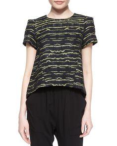 Laurette Short-Sleeve Printed Top, Size: X-SMALL, Blue Grass Combo - Marissa Webb