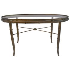 Vintage Faux Bamboo Brass Small Cocktail Table